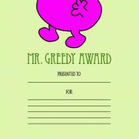 Printable Mr. Greedy Award - Printable Awards - Misc Printables