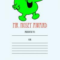 Printable Mr. Nosey Award - Printable Awards - Misc Printables