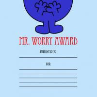 Printable Mr. Worry Award - Printable Awards - Misc Printables