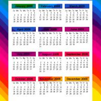 Printable Multicolored 2009 Calendar - Printable Calendar Pages - Free Printable Calendars
