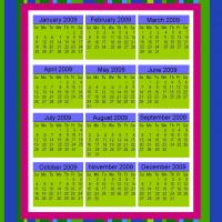 Multicolored Stripes 2009 Calendar