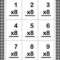 Printable Multiply By Eight Flash Card - Printable Flash Cards - Free Printable Lessons