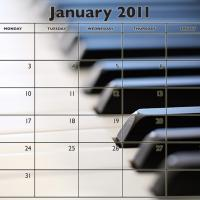 Music Theme January 2011 Calendar