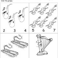 Printable Musical Instrument Count the Groups - Free Printable Math Worksheets - Free Printable Worksheets