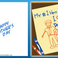 Printable My Number 1 Hero - Printable Fathers Day Cards - Free Printable Cards