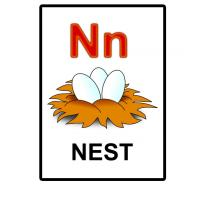 Printable N is for Nest Flash Card - Printable Flash Cards - Free Printable Lessons
