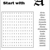 Printable Names Starting With A Word Search - Printable Word Search - Free Printable Games