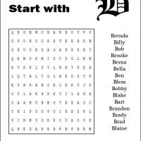 Names Starting With B Word Search