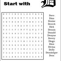Printable Names Starting With D Word Search - Printable Word Search - Free Printable Games