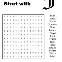 Names Starting With F Word Search