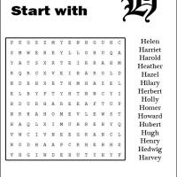 Names Starting With H Word Search