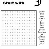 Names Starting With J Word Search