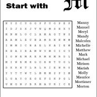 Printable Names Starting With M Word Search - Printable Word Search - Free Printable Games