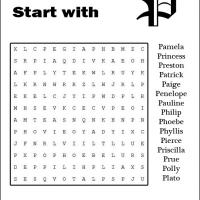 Printable Names Starting With P Word Search - Printable Word Search - Free Printable Games