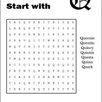 Printable Names Starting With Q Word Search - Printable Word Search - Free Printable Games