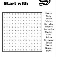 Names Starting With S Word Search
