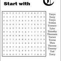 Names Starting With T Word Search