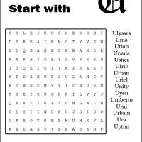 Names Starting With U Word Search