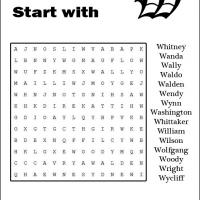 Printable Names Starting With W Word Search - Printable Word Search - Free Printable Games