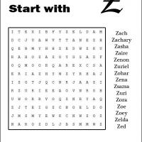 Names Starting With Z Word Search