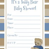 Printable Navy Blue and Cocoa Bordered Baby Shower Invitation - Baby Shower and Christening Invitations Cards - Free Printable Invitations