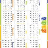 Printable Neon Colors 2013 Calendar - Printable Yearly Calendar - Free Printable Calendars