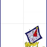 Printable New Year Hat and Glass - Printable Christmas Cards - Free Printable Cards