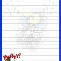 New Year with Blue Border Writing Paper