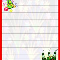 Printable New Year with Red Border Writing Paper - Printable Stationary - Free Printable Activities