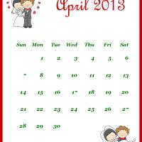 Printable Newly Wed April 2013 Calendar - Printable Monthly Calendars - Free Printable Calendars