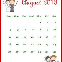 Printable Newly Wed August 2013 Calendar - Printable Monthly Calendars - Free Printable Calendars