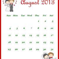 Newly Wed August 2013 Calendar