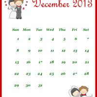 Printable Newly Wed December 2013 Calendar - Printable Monthly Calendars - Free Printable Calendars