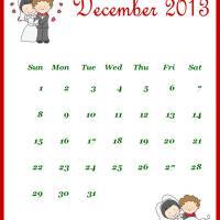 Newly Wed December 2013 Calendar