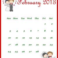 Printable Newly Wed February 2013 Calendar - Printable Monthly Calendars - Free Printable Calendars