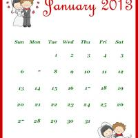 Printable Newly Wed January 2013 Calendar - Printable Monthly Calendars - Free Printable Calendars