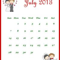 Newly Wed July 2013 Calendar