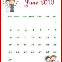 Printable Newly Wed June 2013 Calendar - Printable Monthly Calendars - Free Printable Calendars
