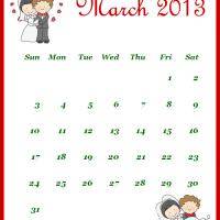Printable Newly Wed March 2013 Calendar - Printable Monthly Calendars - Free Printable Calendars