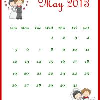 Printable Newly Wed May 2013 Calendar - Printable Monthly Calendars - Free Printable Calendars