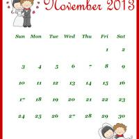 Printable Newly Wed November 2013 Calendar - Printable Monthly Calendars - Free Printable Calendars