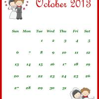 Printable Newly Wed October 2013 Calendar - Printable Monthly Calendars - Free Printable Calendars