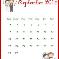 Printable Newly Wed September 2013 Calendar - Printable Monthly Calendars - Free Printable Calendars