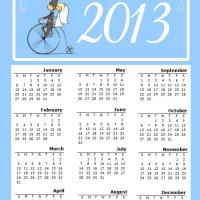 Printable Newly Weds in a Bike 2013 Calendar - Printable Yearly Calendar - Free Printable Calendars