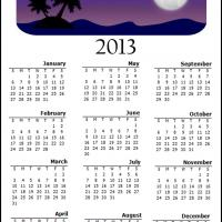 Printable Night on an Island 2013 Calendar - Printable Yearly Calendar - Free Printable Calendars