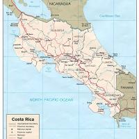North America- Costa Rica Political Map