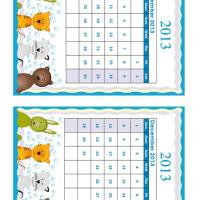 Printable November - December Cartoon Animals 2013 Calendars - Printable Calendar Pages - Free Printable Calendars