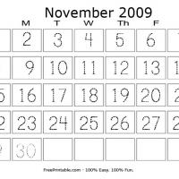Printable November 2009 Writing Calendar - Printable Calendar Pages - Free Printable Calendars