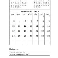Printable November 2013 Calendar with Holidays - Printable Monthly Calendars - Free Printable Calendars
