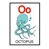 Printable O is for Octopus Flash Card - Printable Flash Cards - Free Printable Lessons